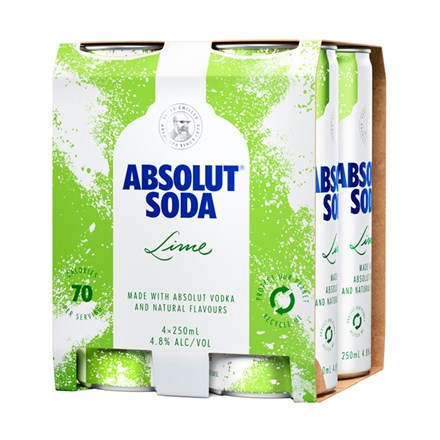 ABSOLUT SODA LIME 4X250ML CANS ABSOLUT SODA LIME 4X250ML CANS