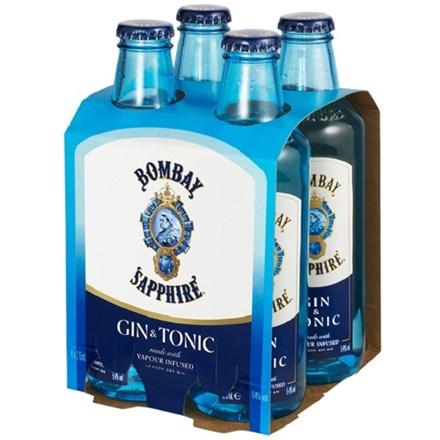 BOMBAY SAPPHIRE GIN &TONIC 4PK BOMBAY SAPPHIRE GIN &TONIC 4PK