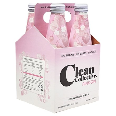 CLEAN COLLECTIVE PINK GIN 4PK BOTTLES CLEAN COLLECTIVE PINK GIN 4PK BOTTLES