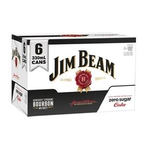 JIM BEAM 5% 6PK CANS ZERO COLA JIM BEAM 5% 6PK CANS ZERO COLA