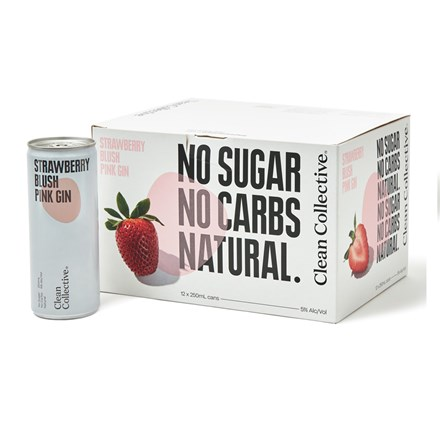 CLEAN COLLECTIVE STRAWBERRY BLUSH GIN 12PK CANS CLEAN COLLECTIVE STRAWBERRY BLUSH GIN 12PK CANS