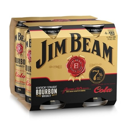 JIM BEAM 7% 4PK CANS COLA JIM BEAM 7% 4PK CANS COLA