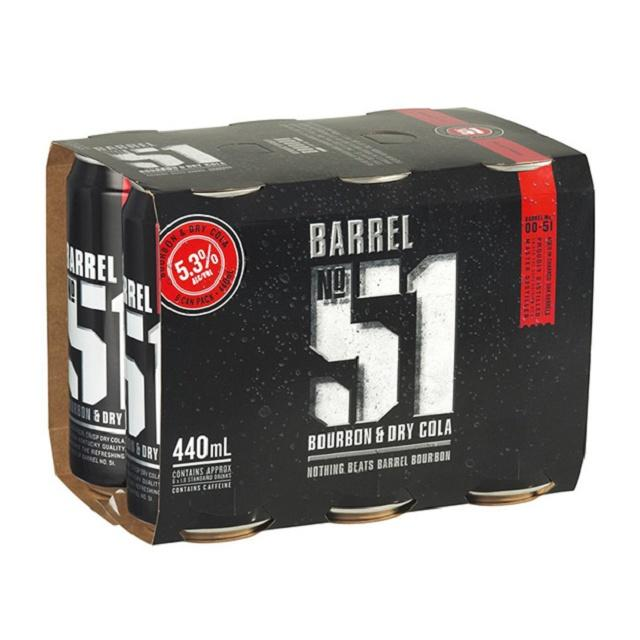 Barrel 51 5% Bourbon & Cola 6PK Cans 440ML Barrel 51 5% Bourbon & Cola 6PK Cans 440ML
