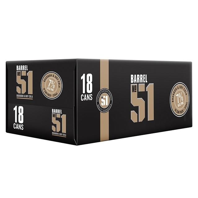 Barrel 51 7% Bourbon & Cola 18pk Cans 250ml Barrel 51 7% Bourbon & Cola 18pk Cans 250ml