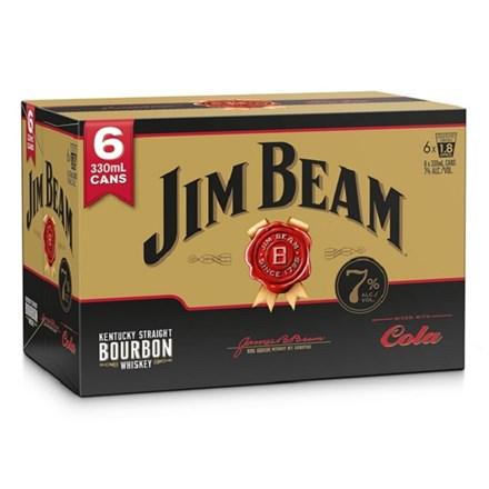 JIM BEAM 7% 6PK CANS COLA JIM BEAM 7% 6PK CANS COLA