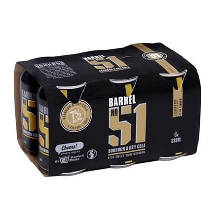 Barrel 51 7% Bourbon & Cola 6PK Cans 330ML Barrel 51 7% Bourbon & Cola 6PK Cans 330ML